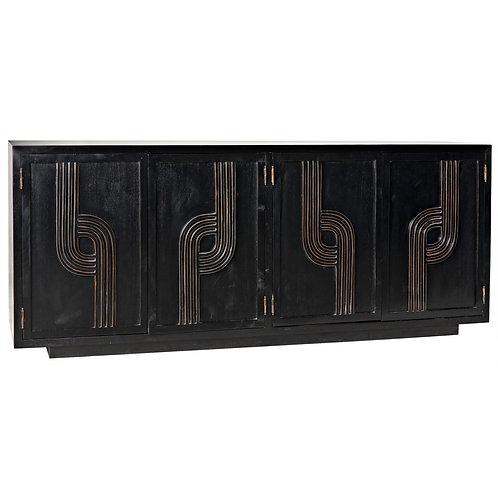 4 Door Deco Sideboard, Black with Gold