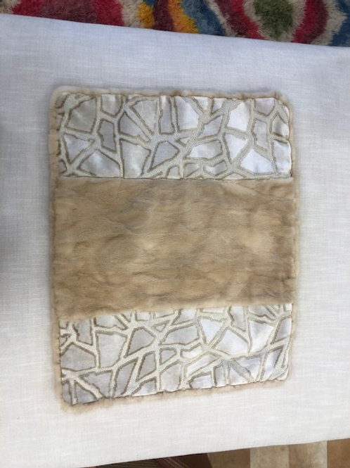 Mink and Velvet Pillow, Silver and Tan