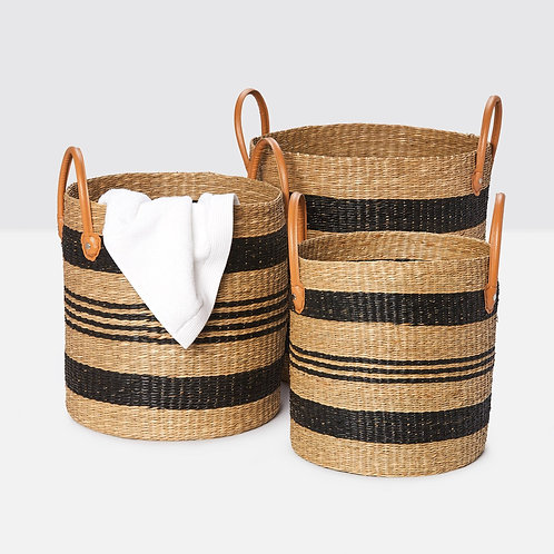 Black/Natural Seagrass Baskets, Set of 3