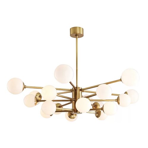 Large Chandelier with Opal Glass and Brass
