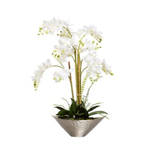 White Faux Orchid in Hammered Silver Metal Bowl