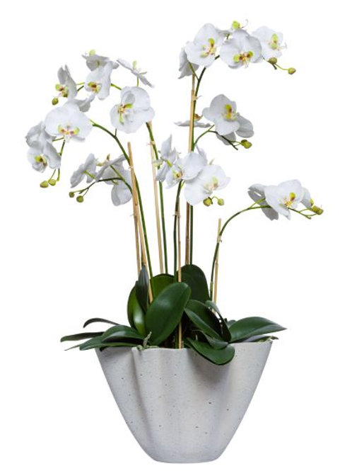 White Faux Orchid in Small Cement Planter
