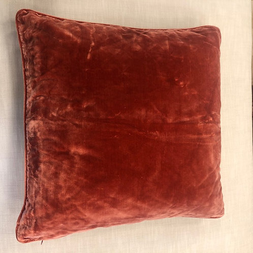 Dark Salmon Pink Silk Velvet Pillow with Insert