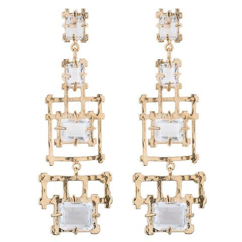 Bamboo Chandelier Earrings with Rock Crystal