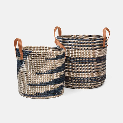 Dark Blue and Natural Seagrass Baskets, Set of 2