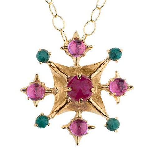 Pagoda Maltese Cross with Ruby, Pink Corundum and Emerald Necklace