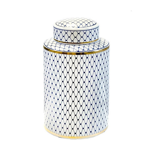 Ceramic Lidded Jar, White/Blue/Gold Ceramic