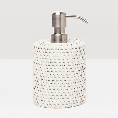 White Rattan Soap Pump with Silver