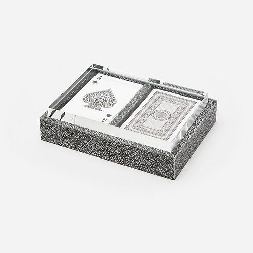Faux Cool Gray Shagreen Box Set with Two Decks of Cards