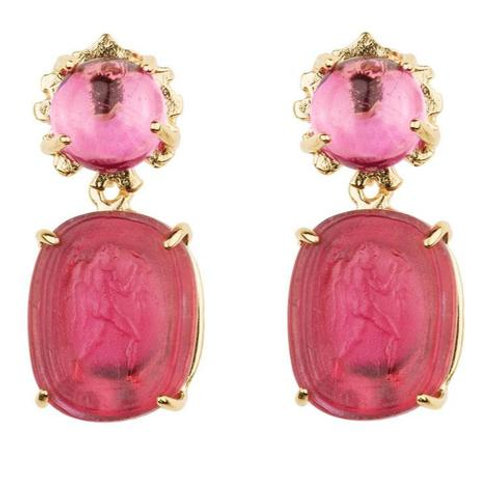 Small Kleck with Pink Corundum Cabochon and Ruby Red Intaglio Earrings