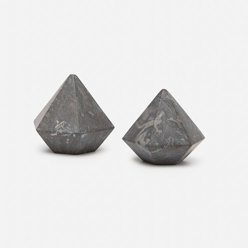 Black Marble Diamond Shaped Paperweights (Set of 2)
