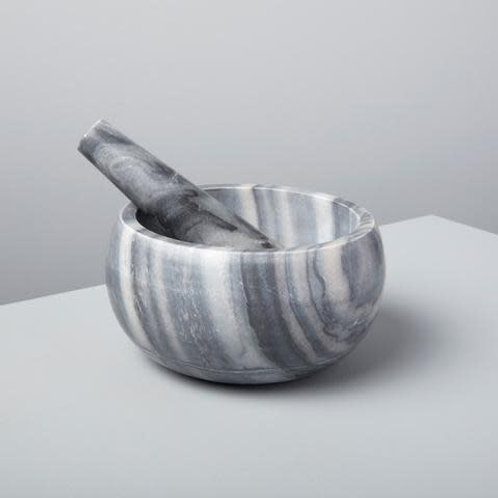 Gray Large Marble Mortar and Pestle