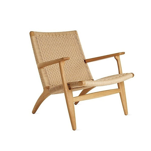 Wood Chair with Woven Upholstery