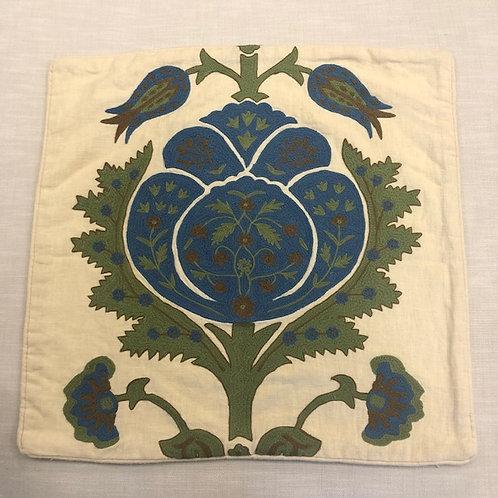 Round Tulip Embroidered on Cream Linen Pillow