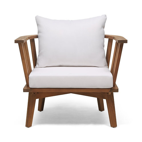 Outdoor Teak Wooden Club Chair with Cushions