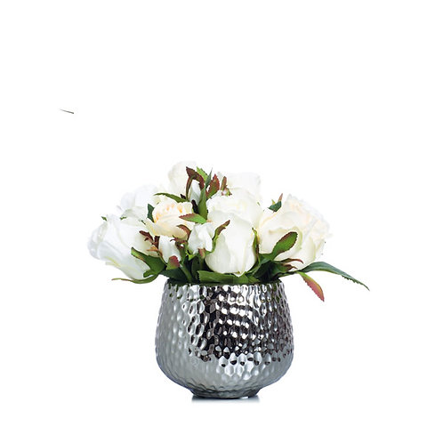 White Faux Roses in Small Silver Pot