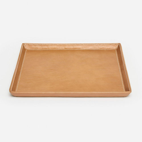 Aged Camel Full-Grain Leather Square Tray