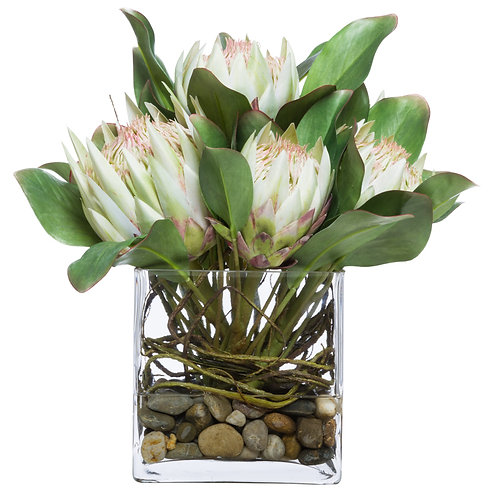 Green Faux Protea Flower in Glass Vase