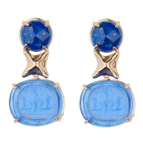 Lapis with Blue Triton Intaglio Earrings