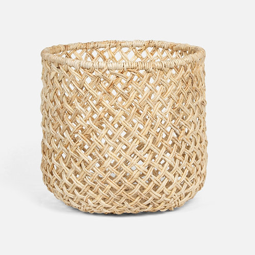 Large Round Basket in Bleached Banana Bark