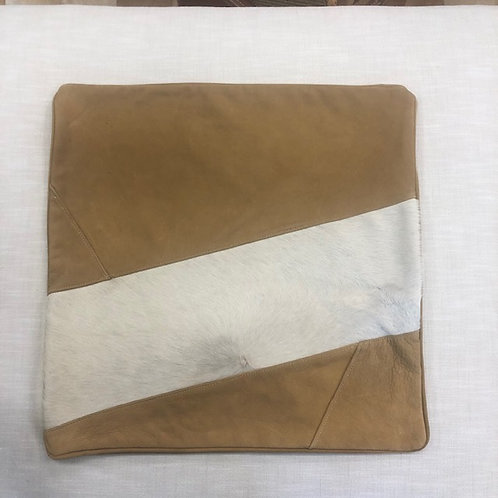 Tan Leather with Cowhide Pillow