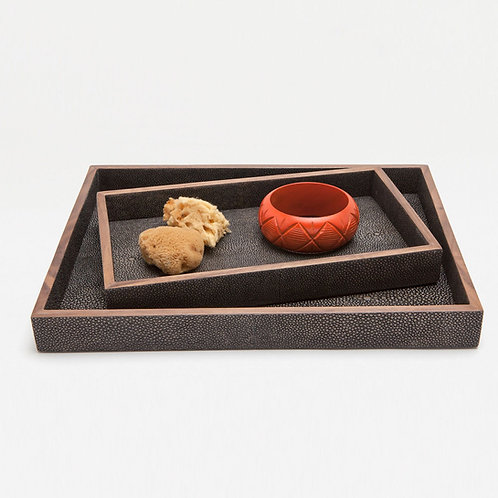 Nested (Set of Two) Faux Shagreen Trays