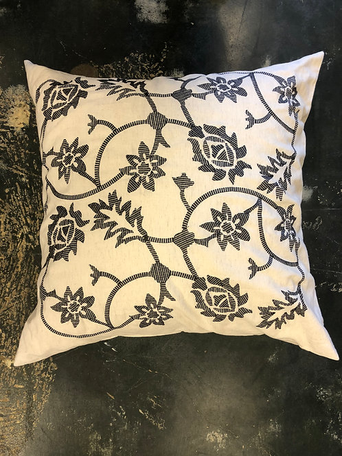 Natural and Black Embroidered Pillow Sham