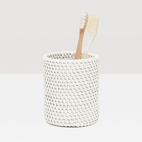 White Rattan Round Canister with Lid
