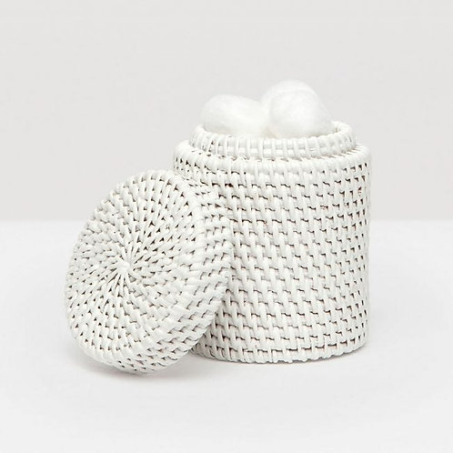 White Rattan Canister with Lid