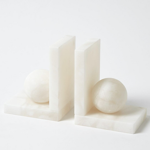 Pair of Alabaster Ball Bookends