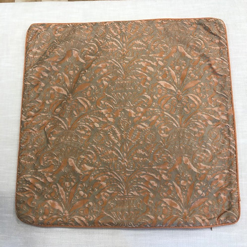 "Orange and Brown Pattern on Cotton Pillow 25"" x 25"" with Down Insert"