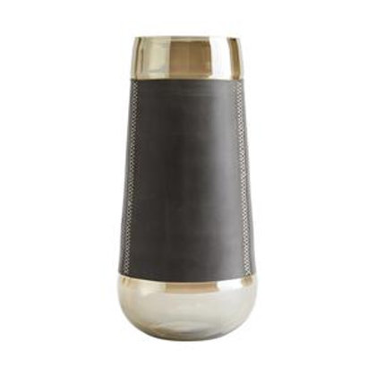 Smoke Glass and Graphite Leather Tall Hurricane Vase