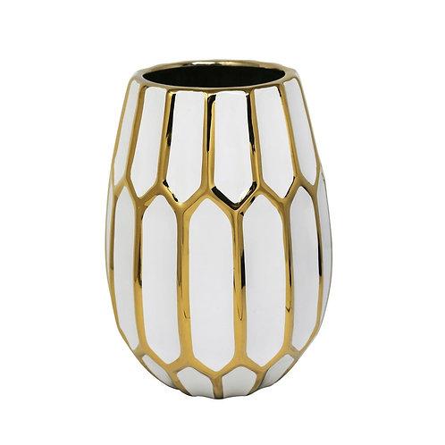 White and Gold Ceramic Vase