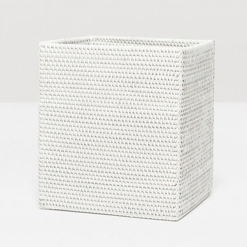 Rectangle White Rattan Trashcan with Liner