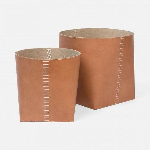 Full-Grain Leather Baskets, Set of 2