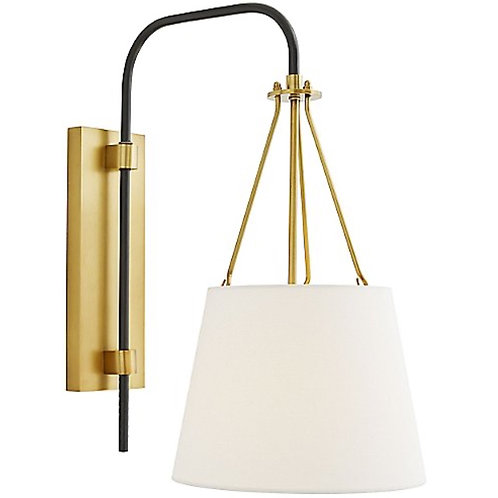 Antique Brass Sconce with White Linen Shade