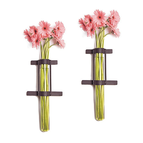 Wall Mount Cylinder Glass Vases with Rustic Rings (Set of 2)