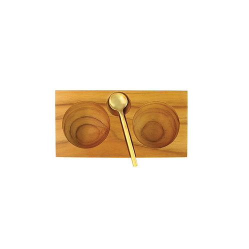 Teak Plank Salt and Pepper Cellar with Gold Spoon