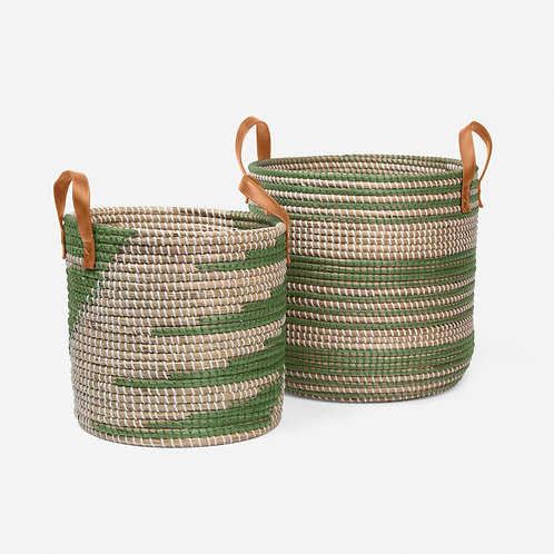 Green and Natural Seagrass Baskets, Set of 2