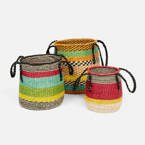 Multi-Colored Seagrass Baskets with Handles - Set of 3