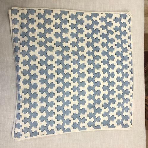 Cream and Blue Pattern Linen Pillow