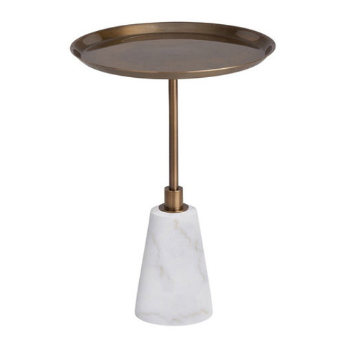 Adjustable Height White and Brass Round Accent Table