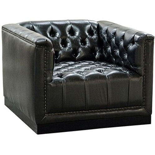 Black Tufted Hi-Grade Leather Upholstered Chair with Walnut Base