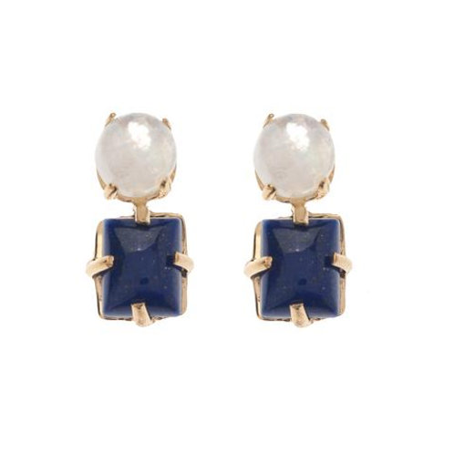 Moonstone and Lapis Cabochon Earrings