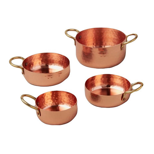 Hammered Copper and Gold Measuring Cups, Set of Four