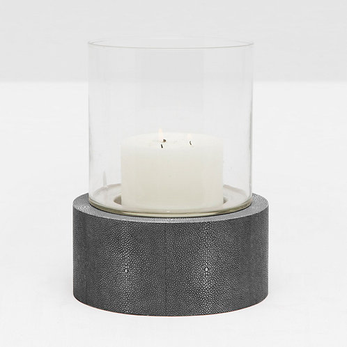 Large Round Glass Hurricane in Cool Gray Faux Shagreen Stand