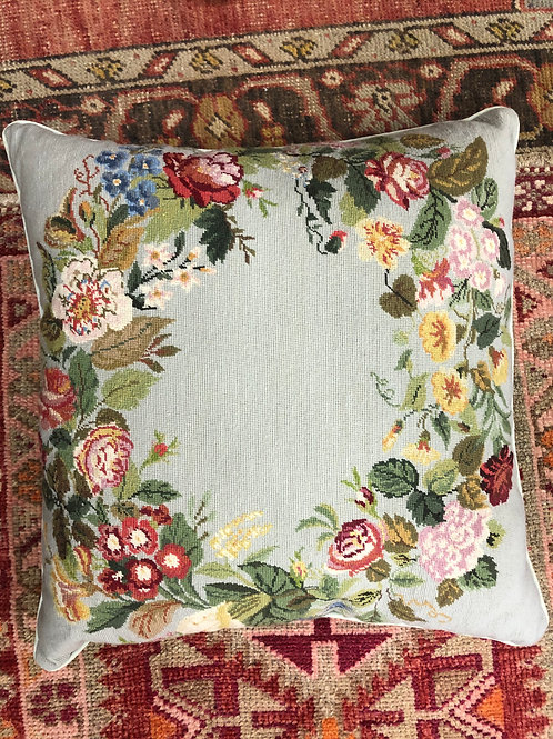 Floral Needlepoint Pillow