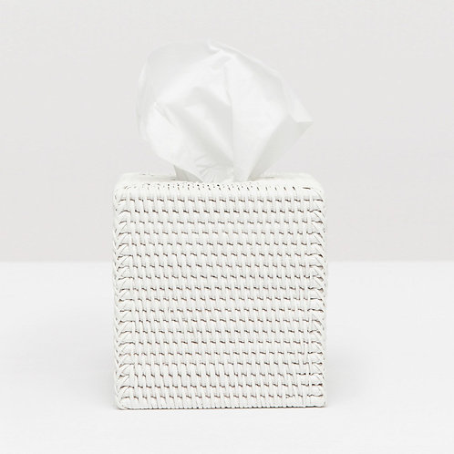 White Rattan Square Tissue Box