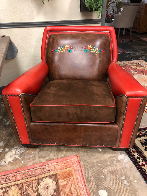 Lynchburg Leather and Suede Chair with Embroidered Flowers