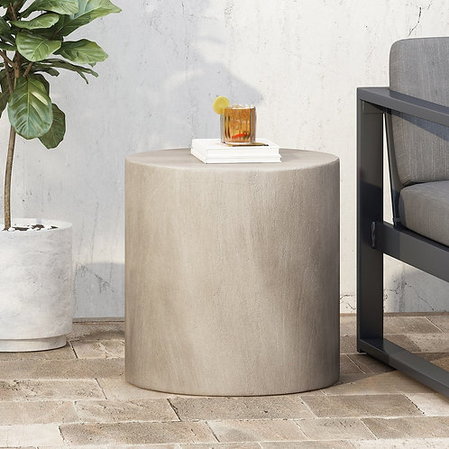 Concrete Oval Side Table